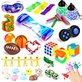 『40-Pack Fidget Toys』: 3D Puzzle Box x 1, Snap & Click Snake Cube x 1, Snake Cube Twist , Puzzle x 1, Marble and Mesh x 3, Stretchy Strings x 3, Puzzle Ball x 2, Squeeze Basketball & Football , Magic Cube x 1, Liquid Motion Timer x 1, Squeeze Beans x...