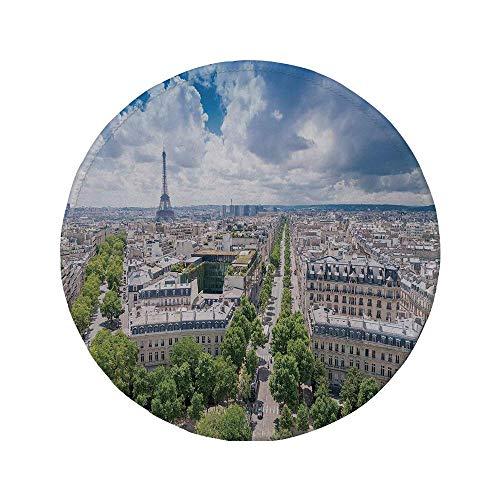 Rutschfreies Gummi-Rundmauspad europäisch Antenne Paris Eiffelturm Französisches Erbe Kultur Architektur Bild Hellblau Cremegrün 7,87 'x 7,87' x 3 mm