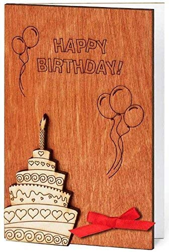 Real Wood Happy Birthday Card B-day Cake and Candle Inside Bday Balloons & Confetti Unique Wooden Gift Idea Best Anniversary Congratulations Present for Mom Dad Man Woman Baby Child Kid Business e