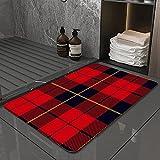 La Alfombra de baño es Suave y cómoda, Absorbente, Antideslizante,Tartán Escocés Cuadros Rojo Negro Amarillo Wallace Patrón Abstracto Línea Anticuarios CApto para baño, Cocina, Dormitorio (40x60 cm)