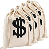 Apipi 4 Pack 6.3 x 9 Inches Canvas Money Bag Pouch with Drawstring Closure- Canvas Cloth Dollar Sign Carrying Sack for Toy Party Favor, Bank Robber Pirate Cowboy Cosplay Theme Party