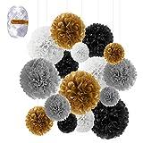 Flores de Pompones, Speyang Pompones de Papel de Seda, Flores Papel Seda, Papel Bolas, 16 Piezas para Decoración de Cumpleaños, Festivalesbodas, Baby Shower, 6'', 8'', 10'', 12'' (dorado)