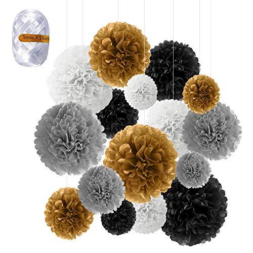 Pompons Papier, Speyang 16 Stück Seidenpapier Pompons Bunt, Blumen Ball Dekorpapier Pompom Deko für Geburtstag Hochzeit, Baby Dusche, Parteien (Gold)