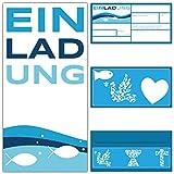 15 Einladungskarten FISCHE mit Umschlag zur Kommunion Konfirmation Taufe zum Ausfüllen - Premium Einladungen für Jungen & Mädchen von BREITENWERK