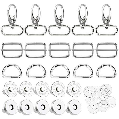 LYTIVAGEN 40 Stück Drehbare Karabinerhaken D-Ringe Schiebeschnalle Karabiner Schlüsselanhänger Magnetverschluss Magnetische Knöpfe für Tasche, Geldtasche, Rucksack Zubehör