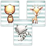 Frechdax® 3er Set Kinderzimmer Babyzimmer Poster Bilder DIN A4