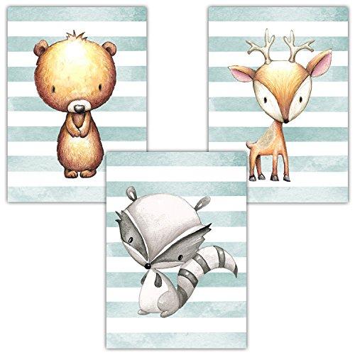 Frechdax® 3er Set Kinderzimmer Babyzimmer Poster Bilder DIN A4 | Mädchen Junge Deko | Dekoration Kinderzimmer | Waldtiere REH Fuchs Hase (3er Set Waldtiere, Blau, Junge)