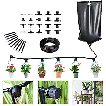 Garden Irrigation System Indoor Automatic Irrigation System Hose Kit Water Drip System for Christmas Tree Irrigation Plants Tubing Kit Drip Kit for Greenhouse 10L Water Bag 33FT DIY