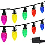 C9 Christmas String Lights Outdoor/Indoor, Extendable 50 LED 49ft Waterproof Green Wire String Lights Plug in Fairy Lights for Christmas Tree Patio Party Decoration (Multi Color)