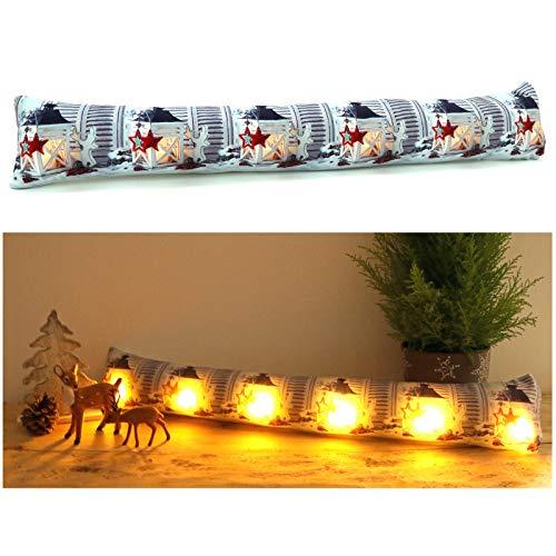 heimtexland ® Zugluftstopper mit LED Beleuchtung Fensterdekoration Hirsch Laterne Sterne Weihnachten Lichterkette Fensterdichtung Stimmungslicht Weihnachtsdeko Typ582
