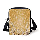Floral Decor,Trees Blossoms Buds Flowers of Spring Season Pedals Bodies in Wind Image,Yellow and White Print Kids Crossbody Messenger Bag Purse