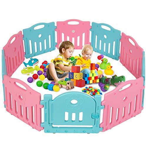 Baby Playpen Play Yard Safety Kids Infants Home Indoor 10 Panel Baby Fence with Door