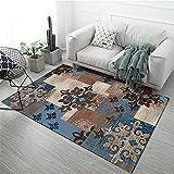 Alfombra Suelo Radiante electrico Patrón de rectángulo geométrico Azul marrón Adornado con diseño Floral Abstracto Alfombra Infantiles Dormitorio alfombras 160*230cm