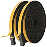 Weather Stripping Door Seal Strip,High Density Foam Tape,Doors and Windows Insulation Soundproofing Weatherproof,Self Adhesive Rubber Weatherstrip Door Seal Strip (1/2''W X 1/2''T X 13'L)