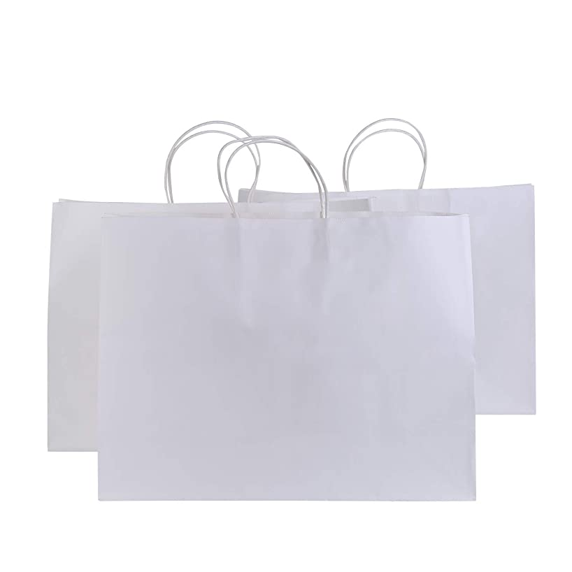 Road 16x6x12 Inches 50 Pcs Large Kraft White Paper Bags with Handles, Shopping, Grocery, Mechandise, Party Bags