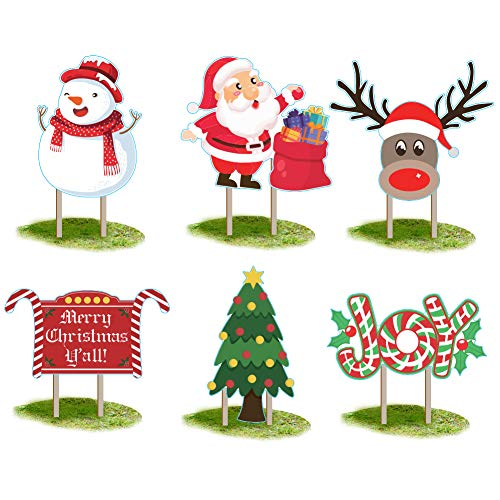 Gukasxi 6 Pieces Christmas Yard Signs with 12 Stakes Large Sized Christmas Holiday Decorations Winter Holiday Yard Decorations Corrugate Outdoor Lawn Decorations