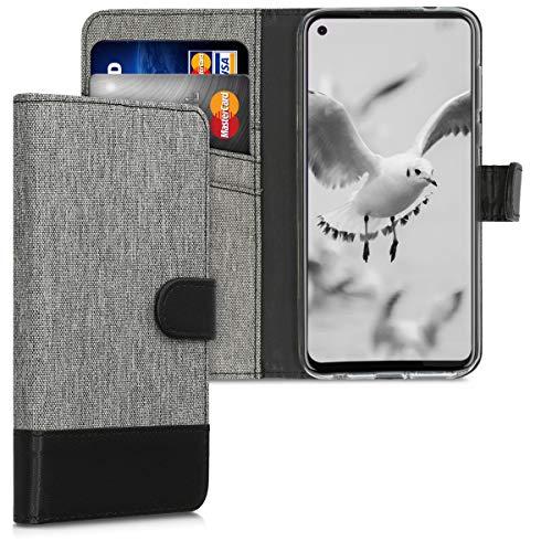 kwmobile Wallet Hülle kompatibel mit Motorola Moto G Pro - Hülle Kunstleder mit Kartenfächern Stand in Grau Schwarz