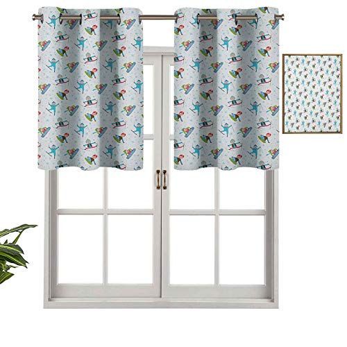 Hiiiman Premium Grommet Blackout Valance Snowboard and Ski Sports Pattern with Snowflakes Background Cartoon Drawing Style, Set of 1, 36'x18' Home Decorative Blackout Panels for Bedroom