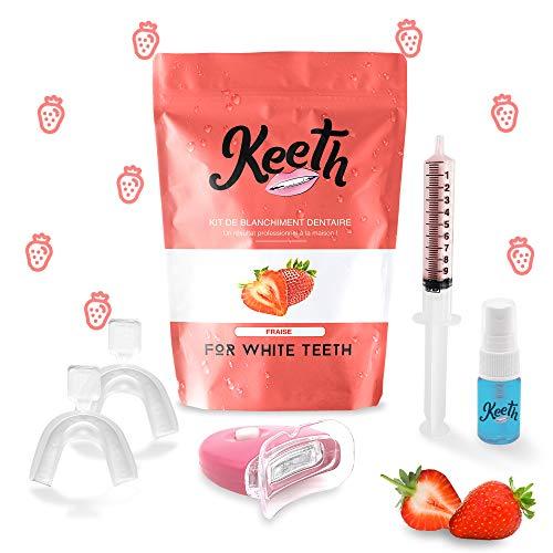 Kit blanchiment dents - Keeth goût Fraise – Obtenez de belles dents blanches à domicile grâce à notre soin unique de blanchiment dentaire professionnel français (Fraise)