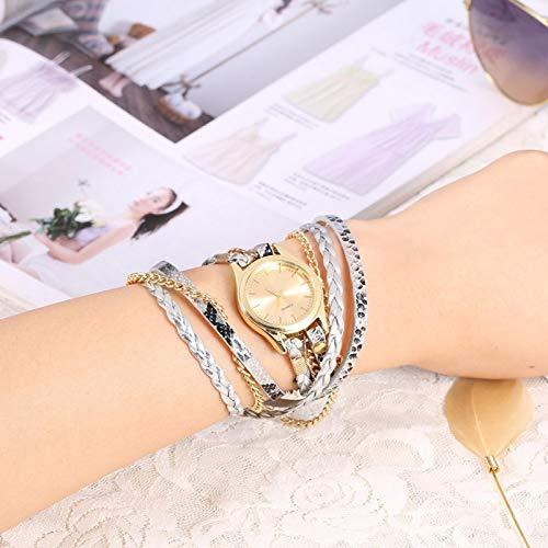 DAUERHAFT 22.4inch Weave Watch Braid Watch Reloj de Pulsera Reloj Redondo Simple y Elegante(Silver Gray)