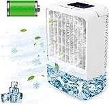 Refroidisseur d'air Portable Climatiseur Mobile USB,EEIEER 4000mAh 4 en 1 Climatiseur Portable Ventilateur Air Humidificateur Conditionneur Silencieux Mini Air Refroidisseur pour Maison,Bureau,Camping