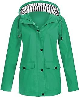 Women's Plus Size Solid Rain Jacket Outdoor Plus Waterproof Hooded Raincoat Windproof Trench with Pocket