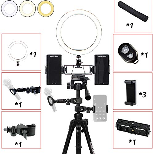 MOZX LED Ring Light with Tripod Stand, 10 Inch Selfie Dimmable Ring Light, 3 Color Modes and 3 Packages to Choose from, USB Powered, Heighten Hose, for Live Streaming Makeup Camera,Package 2