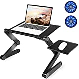 Extra Large Adjustable Laptop Stand, Aluminum Laptop Table Laptop Desk Stand, Protable Book Stand Laptop Stand for Up to 17.3'' Laptop, with 2 CPU Cooling Fans and Mouse Pad in Bed Desk Couch Sofa