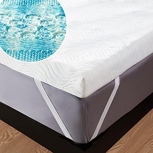 Bedsure Topper Viscoelastico 135x190x7cm Colchon - Sobrecolchon Memory Foam Mattress Antiestático, Cubre Colchon Espuma con 1 Funda Extraíble y Lavable, Efecto Memoria Hipoalergénico