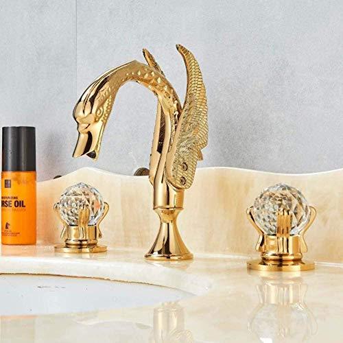 Grifo para lavabo de baño Grifo dorado Cisne dorado pulido Dos asas de vidrio Mezclador de 3 orificios Grifo elegante Extendido Cuba