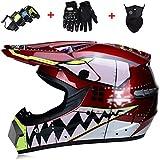 Erwachsener Motocross-Helm - Motorrad-Crosshelm mit Schutzbrille/Maske/Handschuhen,...