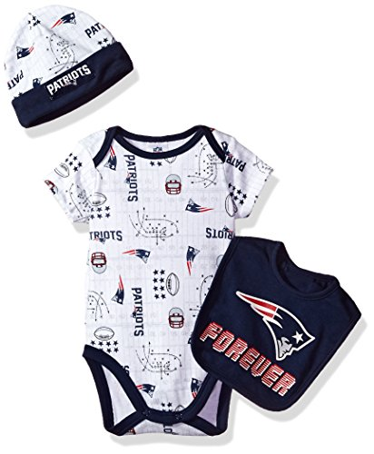 Gerber Childrenswear NFL New England Patriots Boys Bodysuit Bib & Cap Set, 3-6 Months, Navy