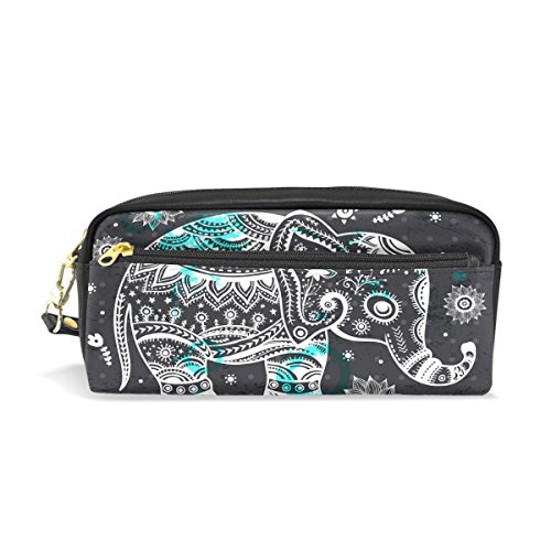 Elephant Leather Student Pencil Case Pen Cosmetic Bag for Girls Makeup Pouch