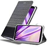 Cadorabo Hülle für Lenovo Google Nexus 6 / 6X - Hülle in GRAU SCHWARZ – Handyhülle mit Standfunktion & Kartenfach im Stoff Design - Case Cover Schutzhülle Etui Tasche Book