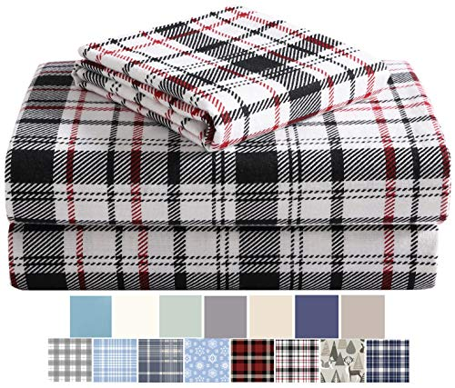 Morgan Home Fashions Cotton Turkish Flannel Sheets 100% Brushed Cotton for Supreme Comfort - Deep Pockets - Warm and Cozy, Great for All Seasons (White Plaid, Full)