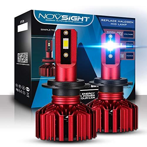 NOVSIGHT LED Headlight Bulbs Conversion Kit- H7 10000LM60W 6000K Cool White Hi Lo Beam Headlamp, HID or Halogen Headlight Replacement - 2 Year Warranty