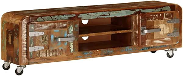 Industrial TV Stand Vintage Retro Cabinet Unit Rustic Solid Reclaimed Wood Furniture Handmade Antique Indian Style Sideboard Metal Wheels Cart Large Farmhouse Room 2 Doors Shelf Small Storage Cupboard