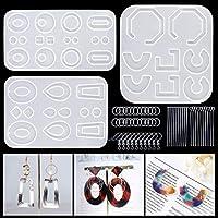 LET'S RESIN シリコンモールド イヤリングモールド ジュエリーモールド UVレジン型 エポキシ樹脂 ソフトモールド DIY 樹脂イヤリング 手作り 抜き型 半透明 オリジナル ギフト 再利用可能 3セット 18種類
