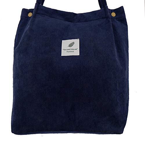 Funtlend Cord Tasche Umhängetasche Damen Groß Damen Handtasche Shopper Damen Henkeltasche für Uni Arbeit Mädchen Schule (Blau)