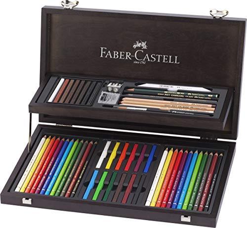 Faber-Castell 110088 - Estuche de madera de 24 piezas con equipo básico de las 3 gamas, ecolápices polychromos, tizas, grafitos y accesorios