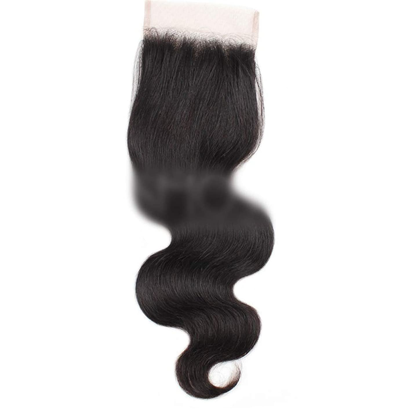 ハブ成長するゼリーYESONEEP 7aバージンブラジル人間の髪の毛自由な部分実体波4×4レース閉鎖ロールプレイングかつら女性のかつら (色 : 黒, サイズ : 16 inch)