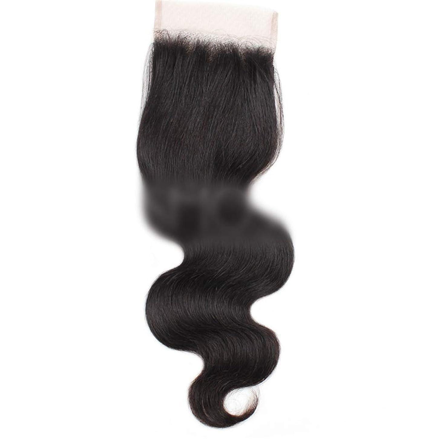 セッティングスポンジキャンドルYESONEEP 7aバージンブラジル人間の髪の毛自由な部分実体波4×4レース閉鎖ロールプレイングかつら女性のかつら (色 : 黒, サイズ : 16 inch)