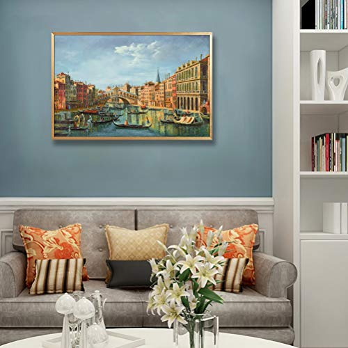"MOTINI Oil Painting Wall Art Prints of Venice Canal Gold Framed Art Vintage Traditional Dinning Room Wall Decor Bedroom, 24""x16"""