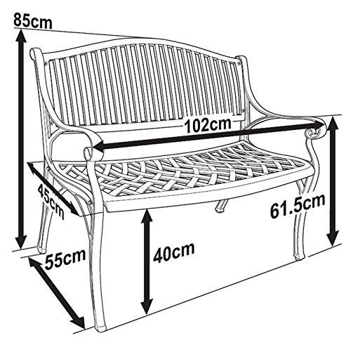 Lazy Susan – GRACE Gartenbank aus Aluminium, Weiß (Beiges Kissen) - 7