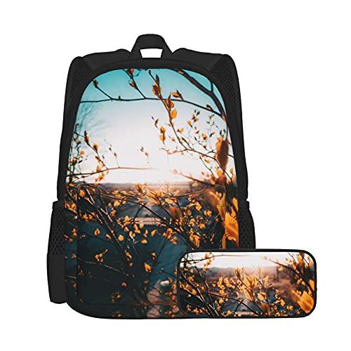 Bokueay 2 uds mochila para niños mochila escolar para estudiantes con estuche para lápices mochila para niños, niñas, adolescentes, fanáticos, regalos, ciruela de invierno