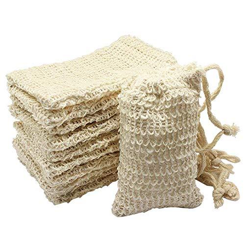 SODIAL Paquet De 10 Sachets De Savon en Sisal Naturel Support De Poche De Dispositif D'épargne à Savon Exfoliant