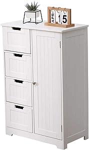 Etnicart - Mobile bagno ingresso e soggiorno a 4 cassetti con sportello in legno MDF 55 X 30 X 81 cm. Bianco-Prodotto di QUALITA'