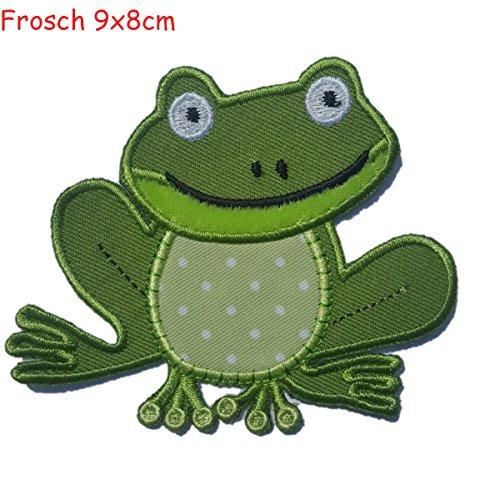 TrickyBoo 2 opstrijkbare kikker 9 x 8 cm framboos 6 x 7 cm set patch applicaties voor het repareren van kinderkleding met design Zürich Zwitserland voor Duitsland en Oostenrijk