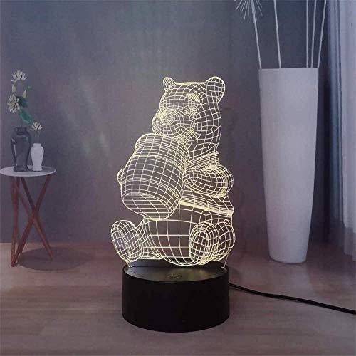 3D-Illusion-Tischlampe, 16 Farben wechselndes Nachtlicht mit Fernbedienung, Geburtstagsgeschenk für Jungen Winnie Puuh