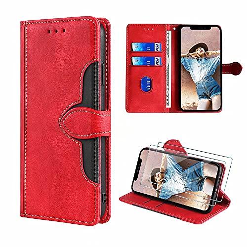 FMPCUON Hülle für Xiaomi Poco F1, Xiaomi Poco F1 Schutzhülle/Klapphülle, Leder Flip Wallet Hülle Tasche Handytasche Cover [Panzerglas Schutzfolie *2] Rot